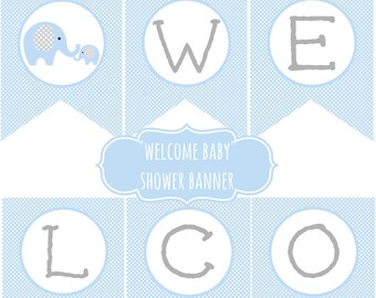 Elephant Baby Shower Welcome Baby Banner Light blue gray Chevron Instant Download