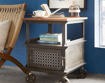 Evoke iron/wooden jali side table/bedside cabinet - 1 drawer Vintage industrial