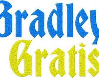 Bradley Gratis Machine Embroidery Font Set Instant Digital download