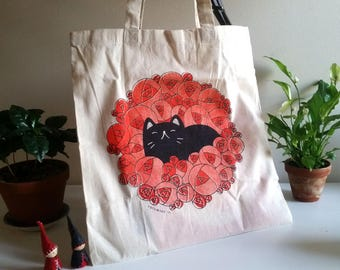 Cosy Cat Tote : screen-printed bag
