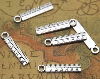 30pcs ruler Charms silver tone mini ruler Charm Pendant 24x5mm ASD1638