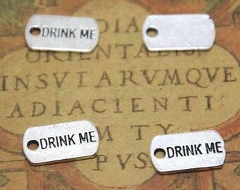 30pcs Drink Me Charms silver tone Charms pendants 10x18 mm ASD1674
