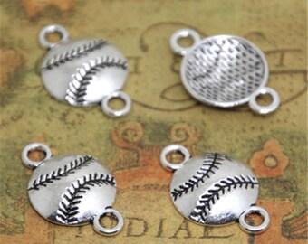 30pcs baseball Charms Silver Tone baseball connector charm pendants 22x14mm ASD1932