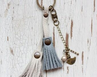 Leather Tassel Keychain, Leather Keychain, Tassel Keychain, Leather key fob, Bag Purse Tassel Charm, Beaded Keychain, Bag Accessories, Charm