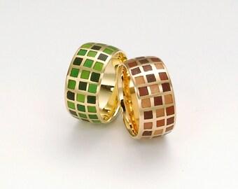 EMAIL ring DIAMONDS, 18 kt pink gold with transaprentem red enamel
