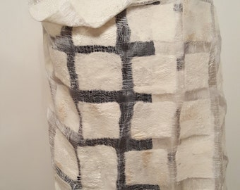 Silk and Merino Wool Nuno Felted Wrap White