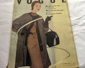 Vintage Vogue Magazine October 1953 (UK Edition) Horst Cover