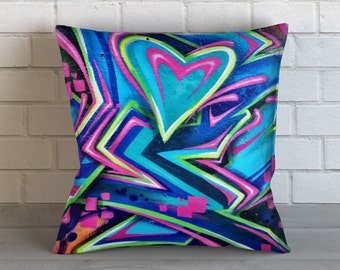 Graffiti Heart Pillow