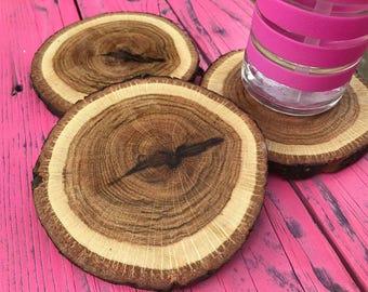 Rustic Farm House Oak Coasters (3)
