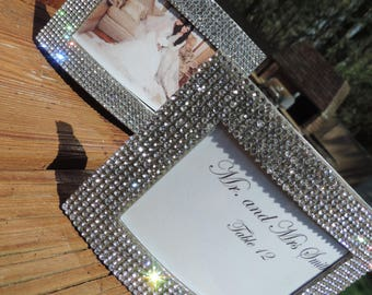 3 by 2 Rhinestone Favor, Place Card Holder, Bridal Bridesmaid Gift