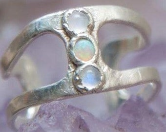 Opal and Moonstone Cuff Ring