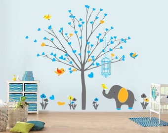 Nursery Tree Decal Set with Animals (2M high)