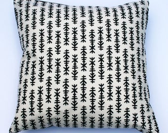 Scandinavian style charcoal line  print cushion in black and beige (cushion pad included)