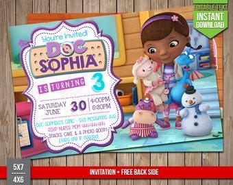 DOC MCSTUFFINS Invitation - Dottie Doc Mcstuffins Invite, Editable Text PDF Birthday Party Disney Invitation, Instant Download