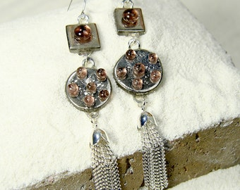 Silver Athena-.02 oz Glass Elegant White Gold two piece earrings with rose glass jewel accents and a silver tassel silver hooks