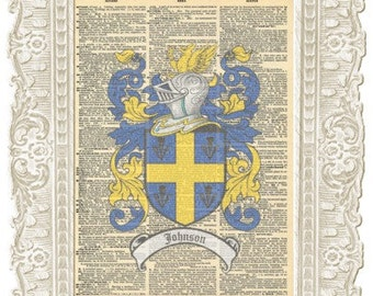Johnson English Family crest artwork. English Crests Coat of arms Vintage Paper.