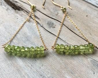 Peridot Earrings, Gold Filled Earrings, Peridot Bar Earrings, Peridot Hoop Earrings, Gold Earrings