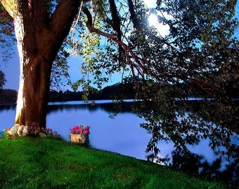"""Fine Art Photography,Large Wall Art Print, Dreamy,Moon,New York at Night,""""3 a.m. on the Lake"""""""