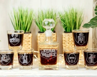 Star Wars Glass Whiskey Decanter Set Groomsmen Gift Personalized Decanter Gift for Men Scotch Glass Decanter Whiskey Glasses Decanter Set