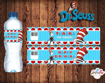 Dr. Seuss  Party Water Bottle label , Cat in the Hat party