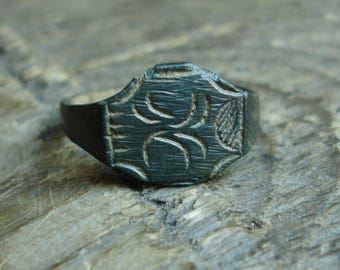 Ancient Medieval 15th-16th Century AD Bronze Ring decorated with 'X' US & Canadian approx. size 9 1/8 British and Australian approx. size S