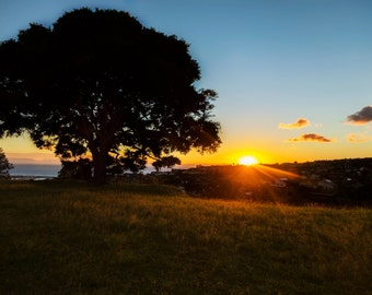 Photography Print- Landscape, Nature, Vibrant Sunset Peaking over Mountain on Hawaii