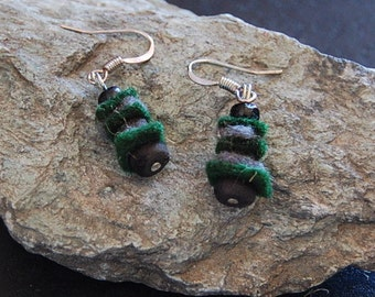 Boiled wool layered green and grey earrings