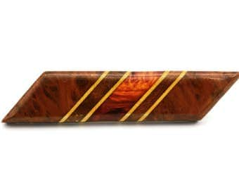 Antique 1930s Brooch, Old Burl Wood Jewelry, Translucent Bakelite Pin Brooch, Geometric Modernist Brooch, Brown Striped Bar, Art Deco brooch