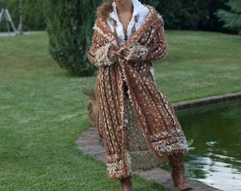 Full-Length, Handmade Italian Sweater/Coat with Hood