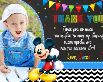 Mickey Mouse Thank You Card Birthday Party