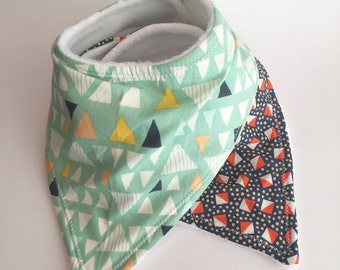 Baby Triangle Bandana Bibs | Gender Neutral Bandana Bibs | Drool Bib | Set of 2