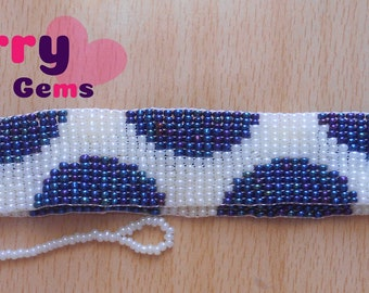 Beaded Cream/Unique Blue Choker (Price Includes Shipping Fees)