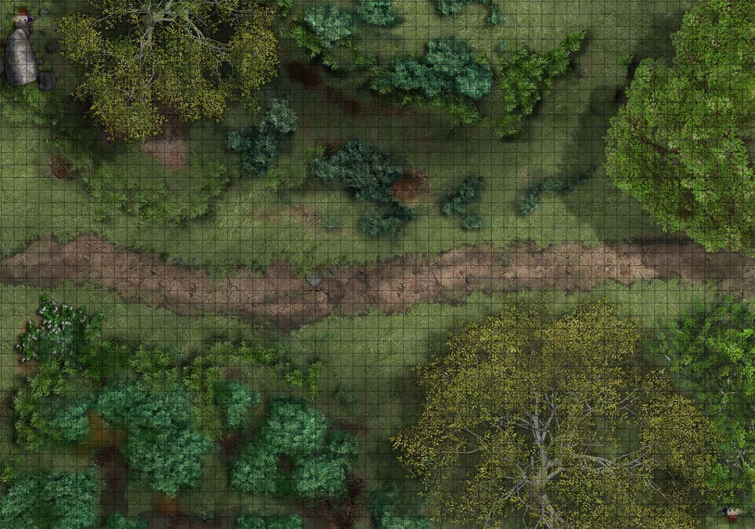 1 Inch Grid Tabletop Rpg Mats Available In Different Sizes