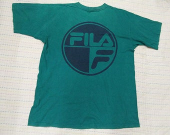 vintage FILA BIG LOGO casual t shirt size L made in usa