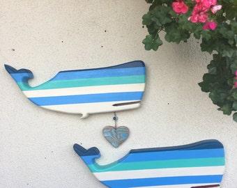 Wooden Whale Wall Art folk art whale | etsy