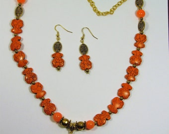 One of a Kind BEAR Shape & Round Beads EARRINGS and NECKLACE w/ Pendant