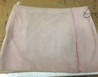 Size 12 pink suede skirt with hook & eye decoration