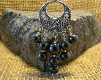 Shungite pendant with beads from Karelia.