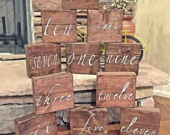 Wedding Table Numbers, Wedding Centerpieces, Block table number, Rustic Wedding Decor, Table Number, Wedding Decorations, Set of 10, Vinyl