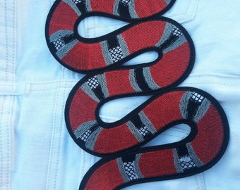 DIY RED Snake EMBROIDERY Sew Iron on patch