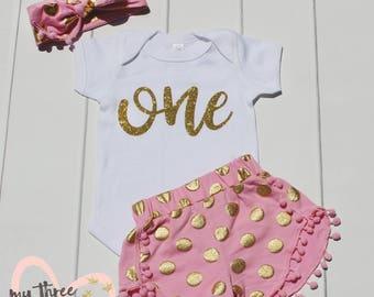1st Birthday Shirt and Shorts Set,Girl First Birthday Outfit, 1st Birthday Onesie, Girl bodysuit, One, Gold Shorts, Gold and Pink Headband,
