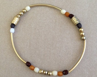 Vintage Silver and Brown Bead Bracelet