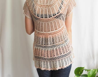 crochet cream knitted vintage top