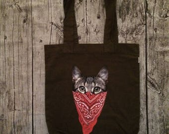 Hipster khaki cat cotton bag
