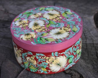Wooden jewelry box Fantasy flowers Petrykivka painting Mothers Day gift for wife Her birthday gift Trinket box for mom Round memory box