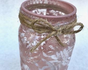 Lace Mason Jar, Rustic Mason Jar, Rustic Home Decor, Vintage Style Decor, Burlap and Lace Home Decor