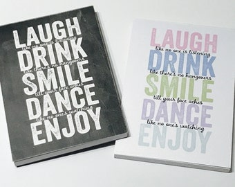 love, Laugh, drink and smile Inspired A6 Note Book / Note pad