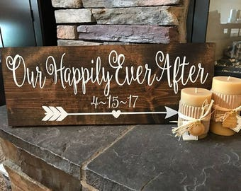 Handmade wooden rustic wood Our Happily Ever After arrow sign~Wedding~Anniversary~Custom date