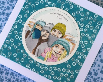 Custom greeting card - small drawn portrait of you and your friends