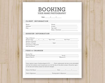 Photographer Booking Form - Photoshop Template for Photographers - PSD *INSTANT DOWNLOAD*